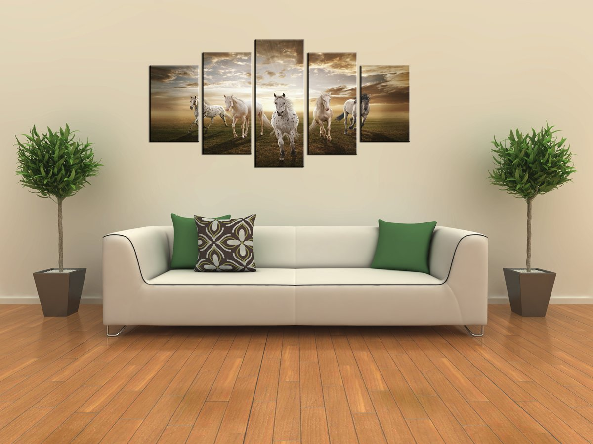 Amazon.com: Canvas Prints, Sk002 Modern Canvas Wall Art White Horse,  Stretched And Framed Ready To Hang, 5 Panels White Horse Canvas Print Photo Canvas  Art ...