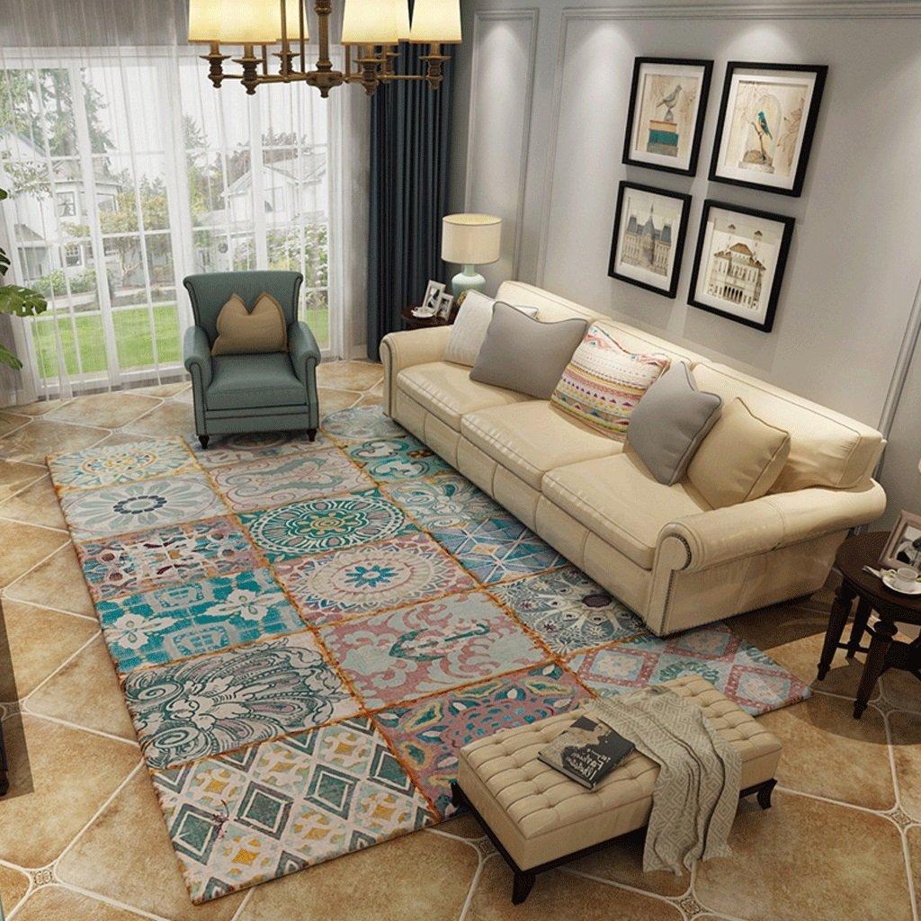GuoFeng Carpet Mat American Country Vintage Teppich Wohnzimmer Couchtisch Sofa Teppich Schlafzimmer Bett Teppich A+ (Farbe   A, größe   200x300cm(79x118inch))