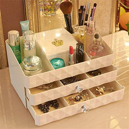 F HOME Makeup Organizer,Unique Cosmetic Makeup Jewelry Storage Case Drawers  Display Boxes 8