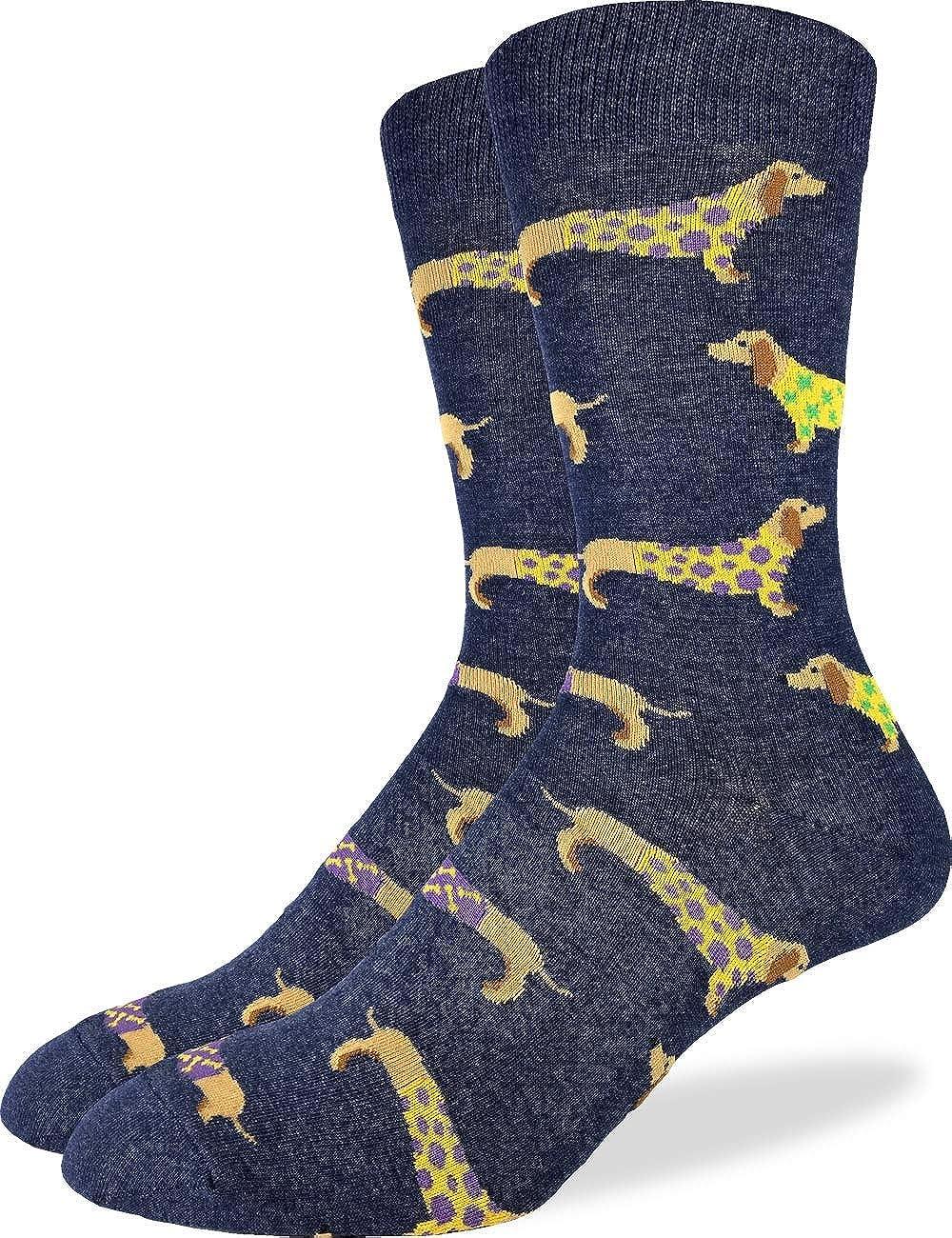 Good Luck Sock Men's Blue Wiener Dog Socks - Blue, Adult Shoe Size 7-12 1404