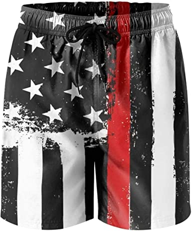 Mens Firefighter Red Line American Flag Classic Quick Dry Swim Trunks Elastic Drawstring Swim Shorts with Pocket