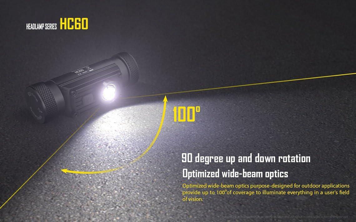 Nitecore Bundle HC60 CREE XM-L2 U2 Rechargeable LED Headlamp 1000 Lumens with 2X Eco-Sensa Photo Lithium CR123A Batteries /& Optional Car /& Wall Adapter