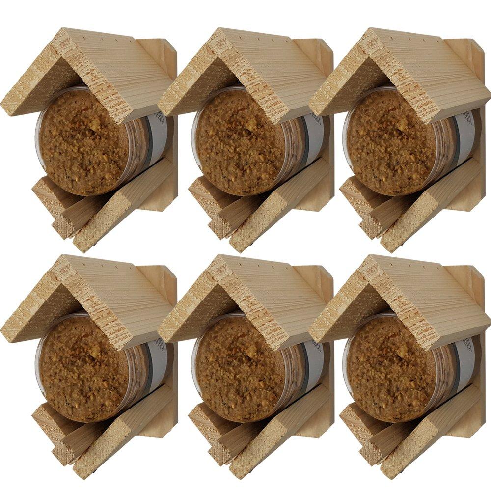 Proheim Set x6 Mangeoire à oiseaux avec beurre de cacahuète intégré - Mangeoire support à beurre de cacahouète 13x8x12 cm en bois FSC