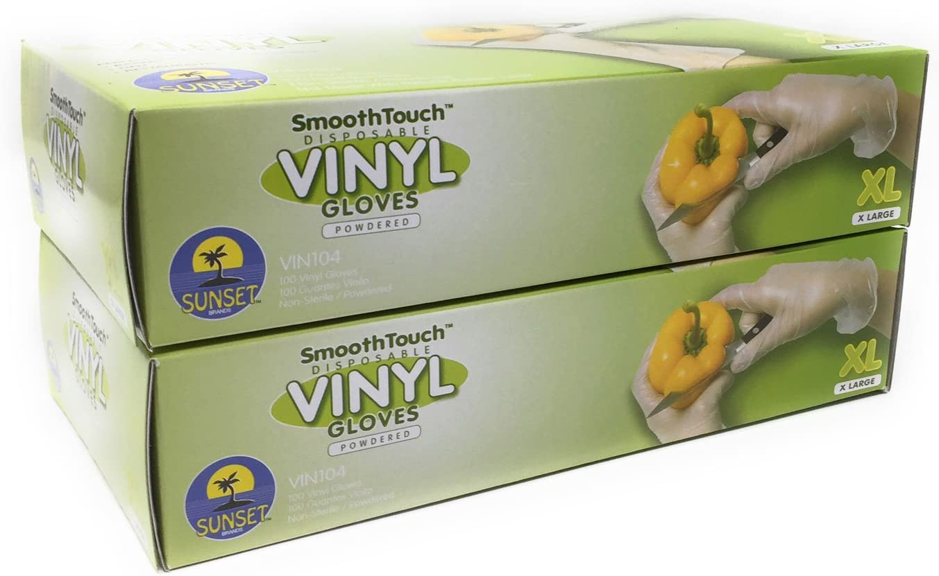 200 Disposable Viny Gloves, Non-Sterile, Powedered, Easy Slip On/Off, Smooth Touch, Food Service Grade, X Large Size [2x100 Pack]