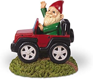 Kwirkworks Funny Garden Gnome - 4x4 Truck Wave Lawn Statue - 8 inches Tall