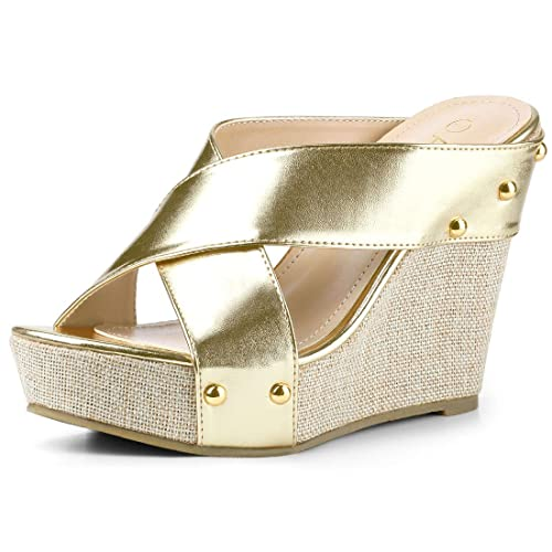 b3d48f8d803 Allegra K Women s Open Toe Linen Platform Slide Wedge Gold Tone Sandals - 5  ...