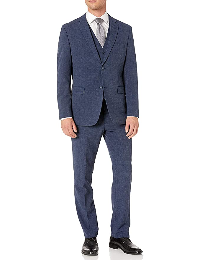 Men's Vintage Style Suits, Classic Suits Adam Baker Mens Single Breasted Stretch Slim Fit Stretch 2-Button Vested Suit Set - Colors $119.99 AT vintagedancer.com