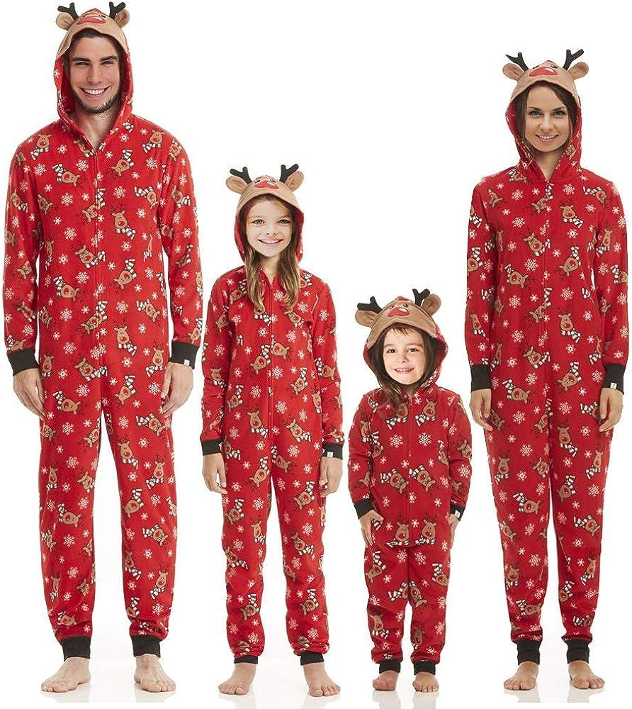 Family Matching Christmas Hoodie Jumpsuit Pajamas Sleepwear Deer Long Sleeve Sweatshirt Bodysuit Homewear Outfits