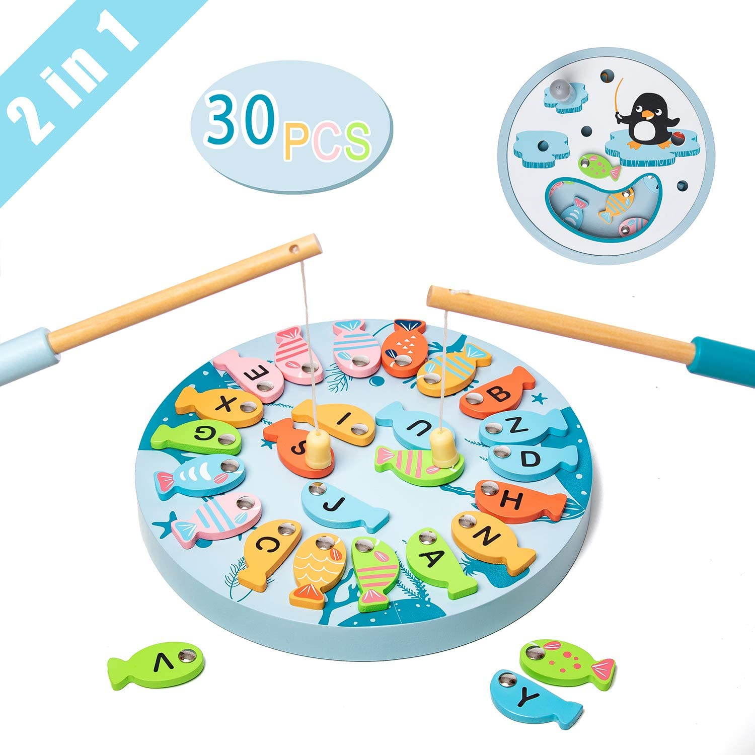 UMU Magnetic Fishing Game Wooden Toy for Kids, 26 PCS Alphabet Letters Magnetic Fishing Toy for Catching & Counting - Preschool Floor and Board Games for 3, 4, 5 Year Old Boys Girls Kids and Toddlers