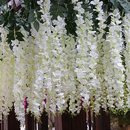 Alcyoneus artificial silk flower garland vine wisteria leaf hanging alcyoneus artificial silk flower garland vine wisteria leaf hanging wedding garden decor white mightylinksfo