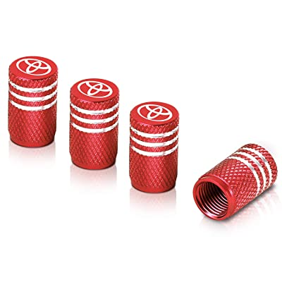 Qideloon Tire Valve Caps,Universal Valve Stem Caps with Logo Emblem for Cars, SUVs, Bike and Bicycle, Trucks, Motorcycles 4 Pieces (red-1): Automotive