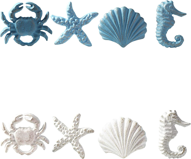 MechWares-Retro Marine Style Cast Iron Drawer Handle-Kitchen Cabinet Wardrobe Closet Hardware-Pattern of Hippocampus Starfish Crab Scallop (8, Blue+White)