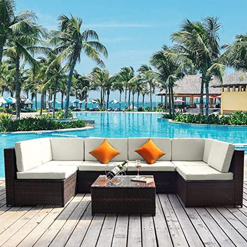 Daxue 7 Pcs Outdoor Patio Furniture Sets All-Weather PE Rattan Sectional Wicker Conversation Sofa Set Glass Coffee Table