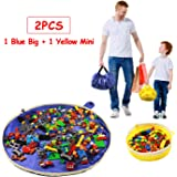 Toy Storage Mat Bag - Play Mat Bag and Toy Organizer Storage Bag by Drawstring for Toy Bricks - Toy Storage Container for Kid