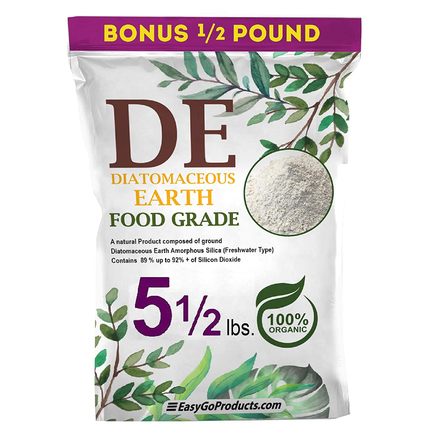 EasyGo Products Diatomaceous Earth - 100% Natural Food Grade - DE Fresh Water