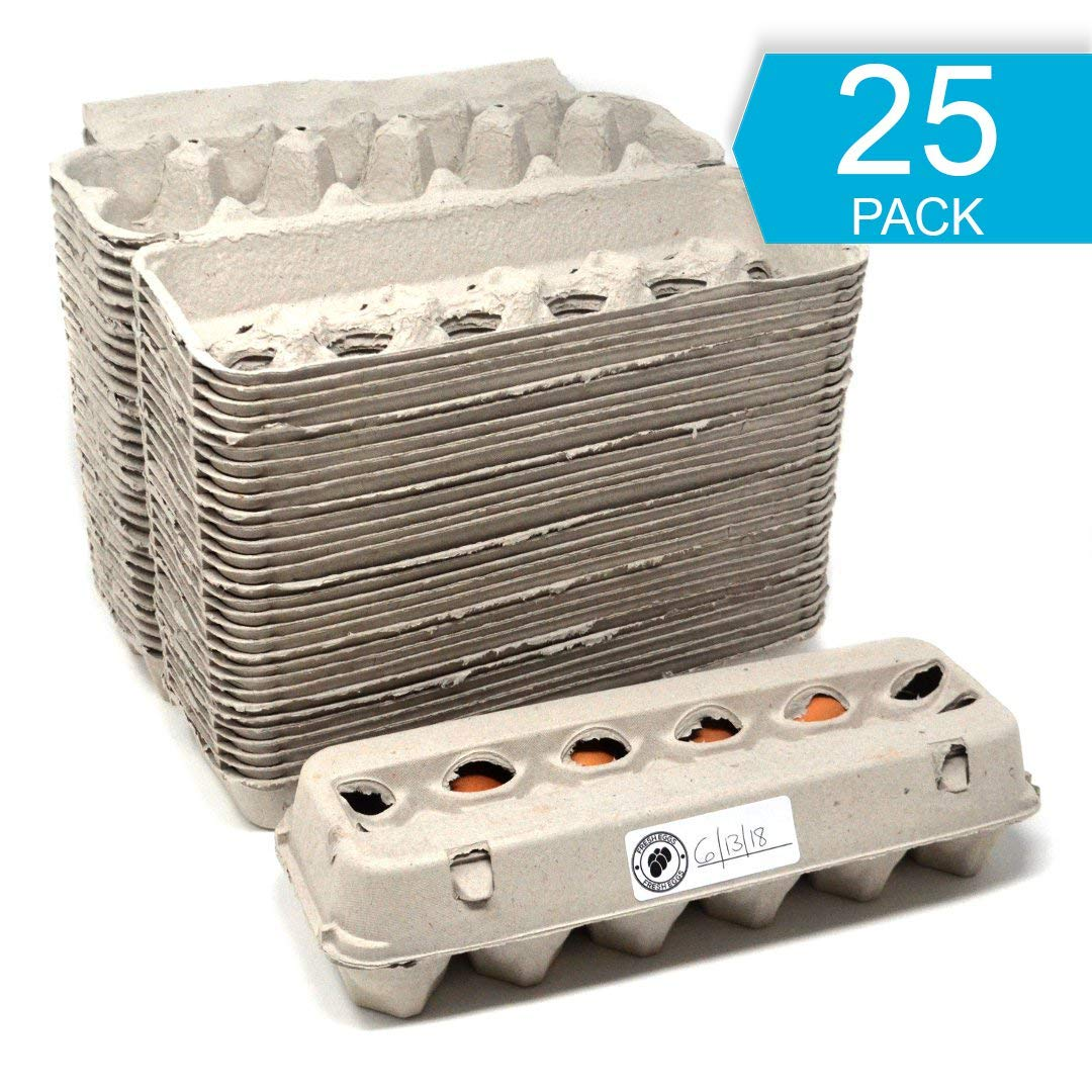 Egg Cartons - 25 PACK - Free Labels Included - 100% recycled materials -  Made in North America - Bulk Cheap Blank Egg Cartons Pack Of 25 - See Color