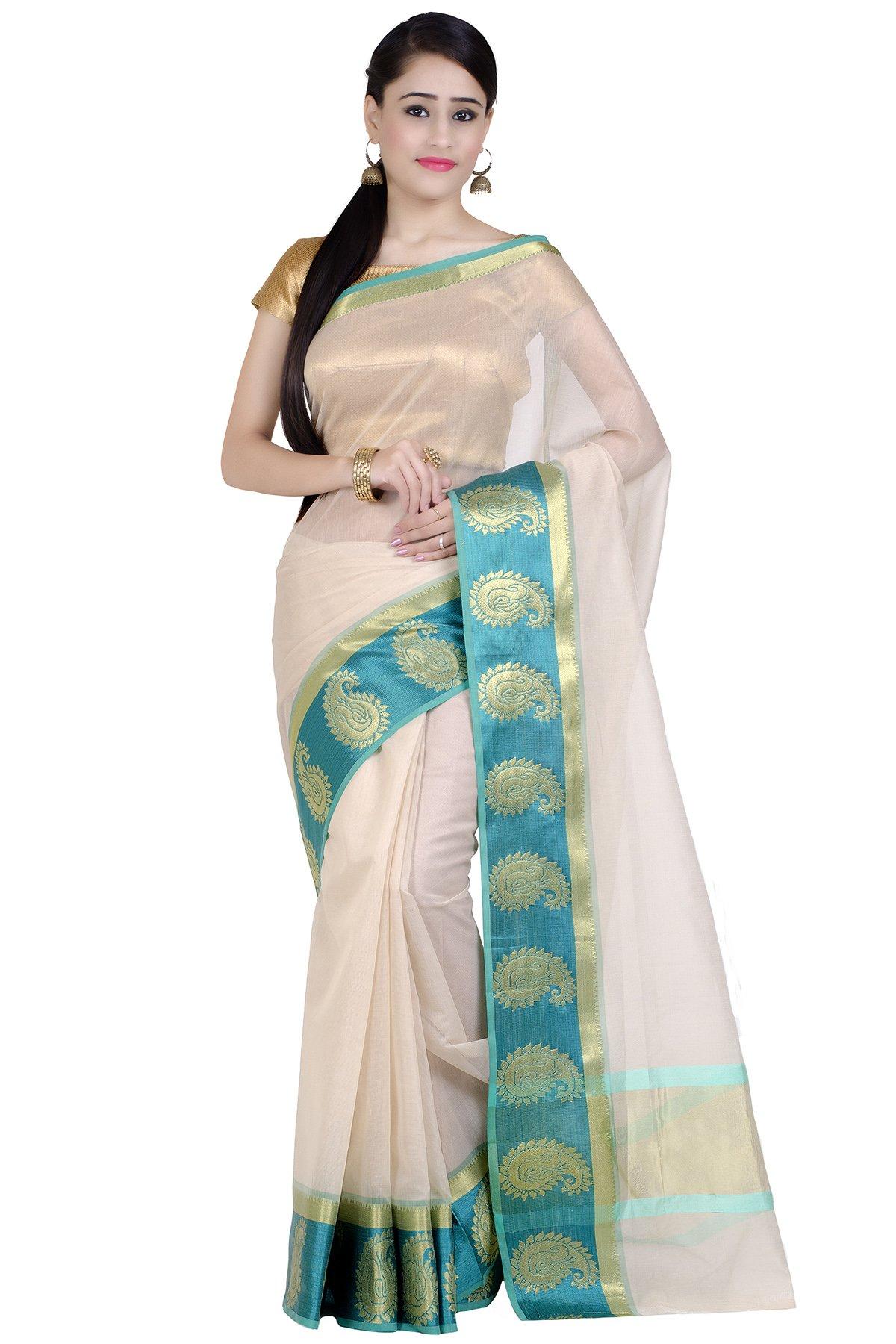 Chandrakala Women's Green Supernet Cotton Banarasi Saree(1276GRE)