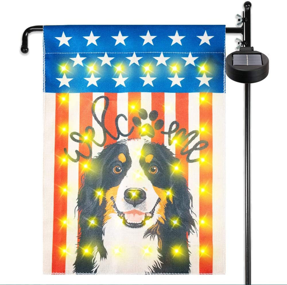 KINGXBAR Double-Sided Outdoor Garden Flag, Waterproof Welcome Dog House Yard Flag with Solar LED Strips Lights Home Decorative Colorful Design Primitive Yard Decor for Patio Lawn Balcony