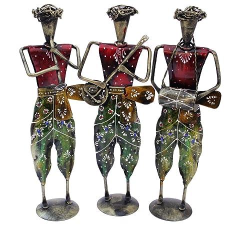 Buy Paheli Craft Iron Tribal Lady Musician Doll Set Of 3 Metal