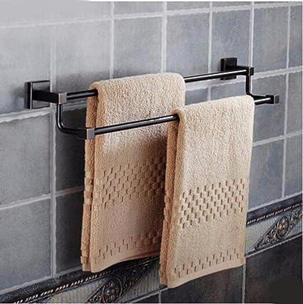 Sursy Bronce europeo negro toalla de baño Toalla de varilla cuadrada bipolar monopolar baño minimalista accesorios