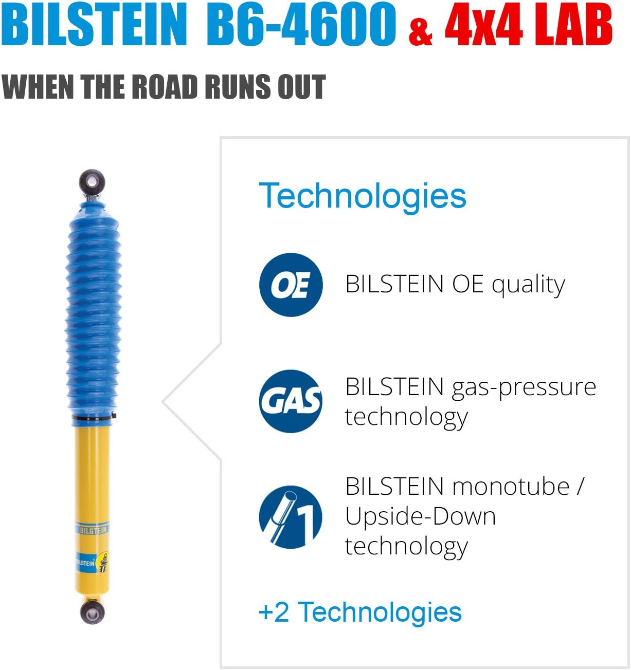 Bilstein B6 4600 Series 4 Shocks Kit for 02-09 Chevy Trailblazer Ride Monotube replacement Gas Charged Shock absorbers part number 24-103336 24-103350