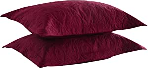 "2 Lux Color Block Pillow Shams ~ Burgundy /& White ~ 20/"" x 26/"" Standard **NEW**"