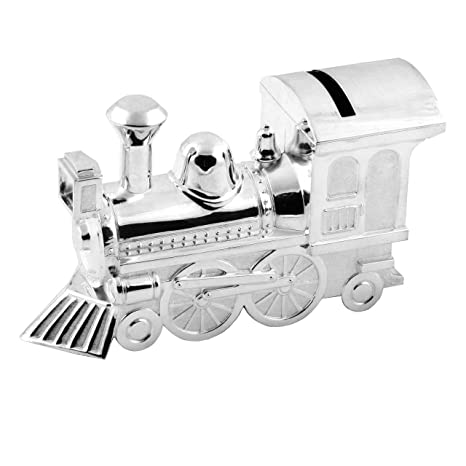 Christening Gifts. Boys Girls. Silver Train Money Box 6289: Amazon.co.uk: Baby