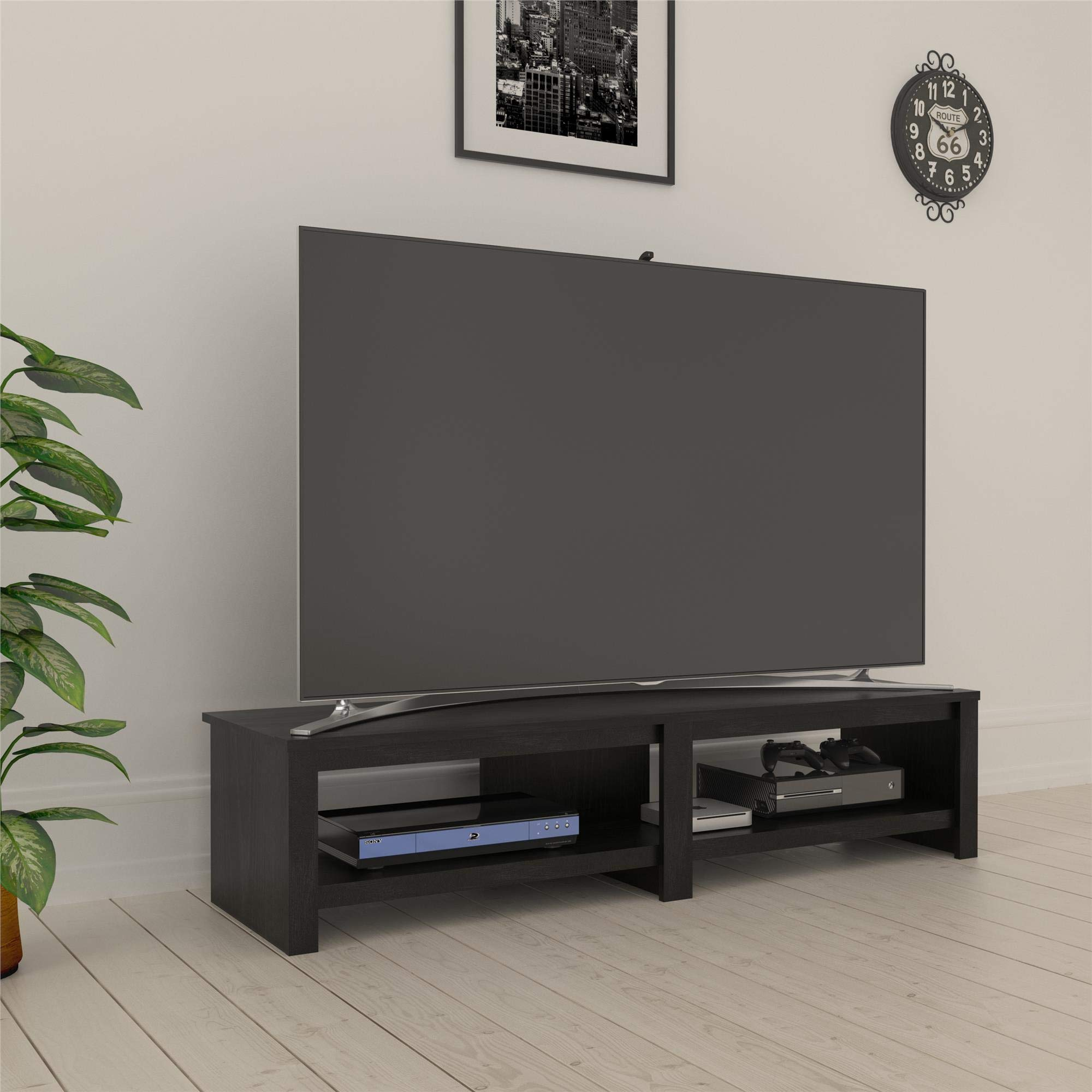 REALROOMS Tally TV Stand for TVs up to 74'', Black Oak by REALROOMS