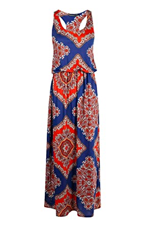 a8b596729a5b Image Unavailable. Image not available for. Color: Boohoo Womens Petite  Lottie Paisley Print Twist Back Maxi Dress ...