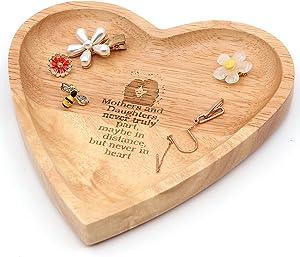 Ku-dayi Mother Gifts from Daughter Ring Trinket Inspirational Heart Shape Ring Jewelry Wood Holder Dish Rustic Farmhouse Decor Wedding Anniversary Birthday Xmas Gift