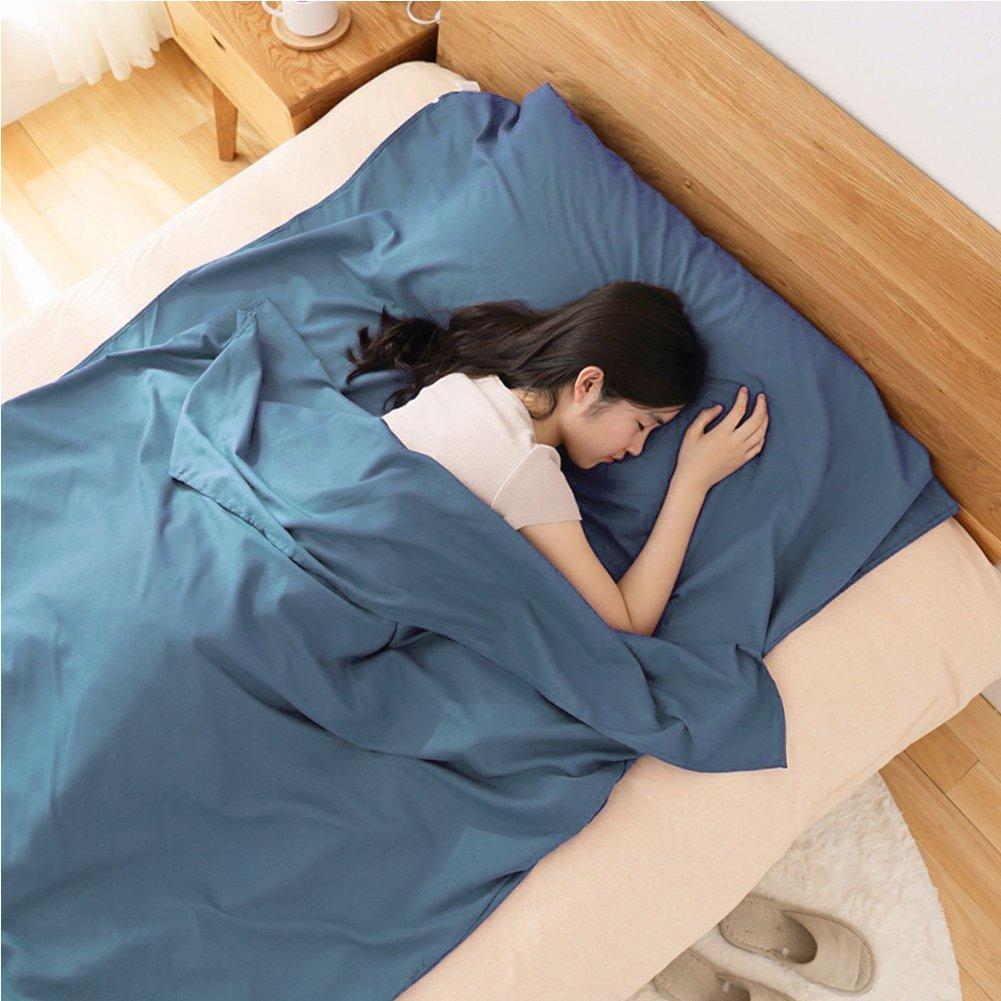 Sábana para Saco de Dormir, para Acampada y Viaje , Forro Térmico De Viajes y Campinghoja Mummy Sleeping Bag Liner (W:105 x L:230 cm; Magia Blu): Amazon.es: ...