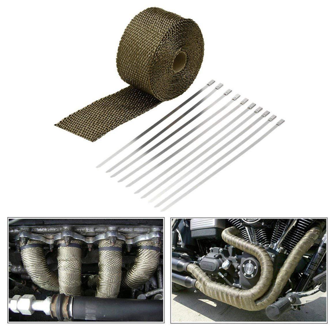 Auto Moto tubo di scarico panno avvolgere il nastro tubo di scarico alto isolamento termico in tela con 10 pezzi strisce di metallo