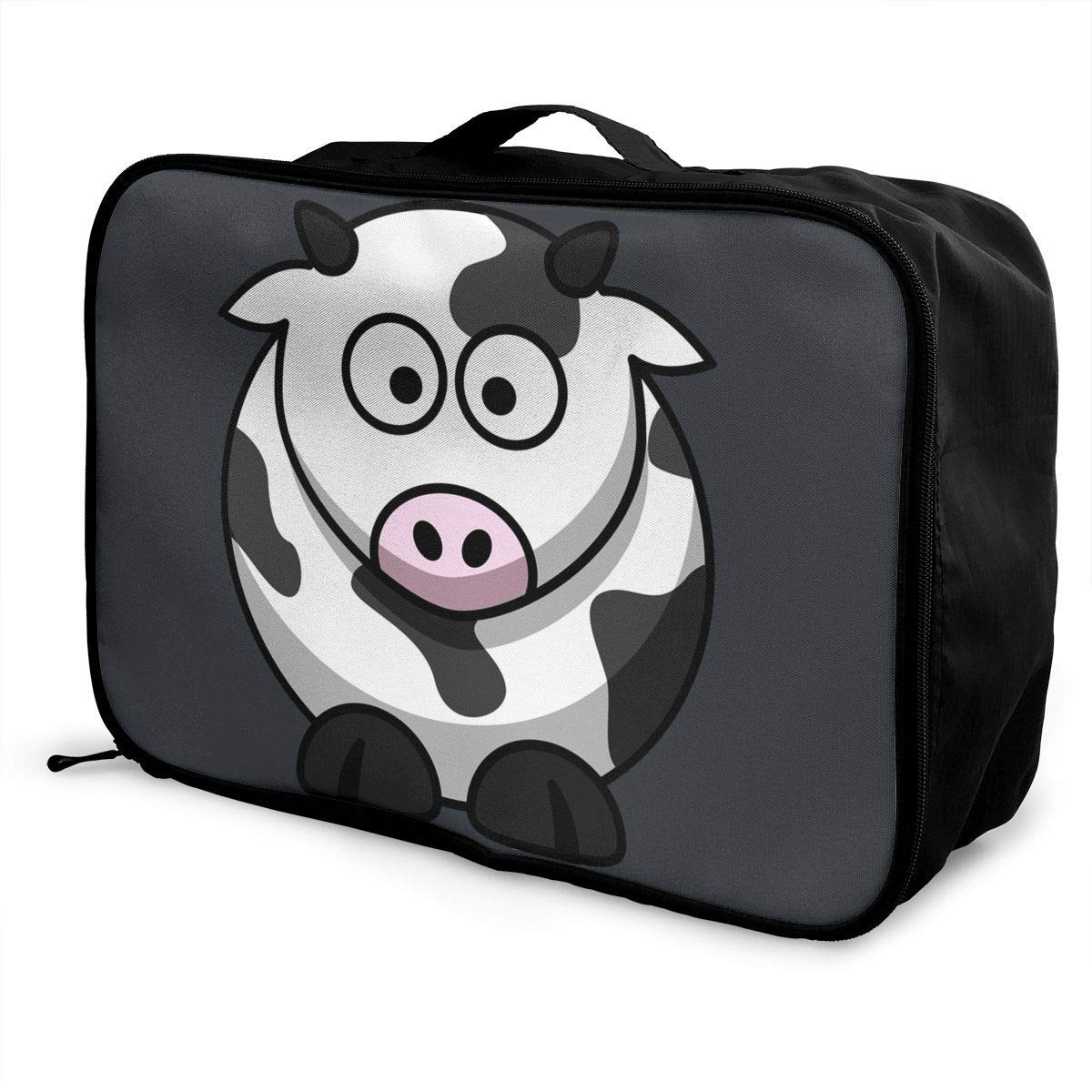 Portable Luggage Duffel Bag Cartoon Cow Travel Bags Carry-on In Trolley Handle