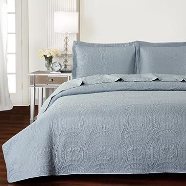 Mellanni Bedspread Coverlet Set Gray Comforter Oversized 3-Piece Quilt Set (Full/Queen, Light Gray)