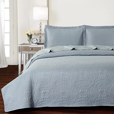 Mellanni Bedspread Coverlet Set Gray   BEST QUALITY Comforter Oversized  3 Piece Quilt Set (