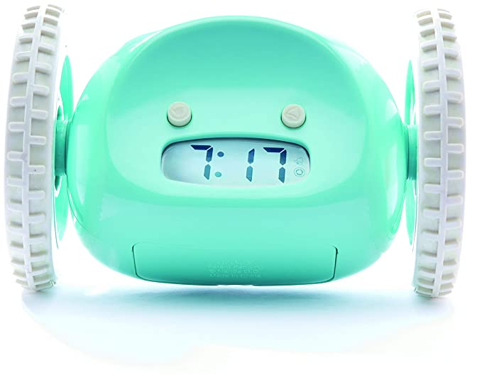 Clocky Rolling Alarm Clock | for Adults and Kids (Best Loud for Heavy Sleeper Bed-Room) Cool, Fun Clockie Jump, Chase, Run-away, Move, Wheel (Blue) Alarm Clocks at amazon