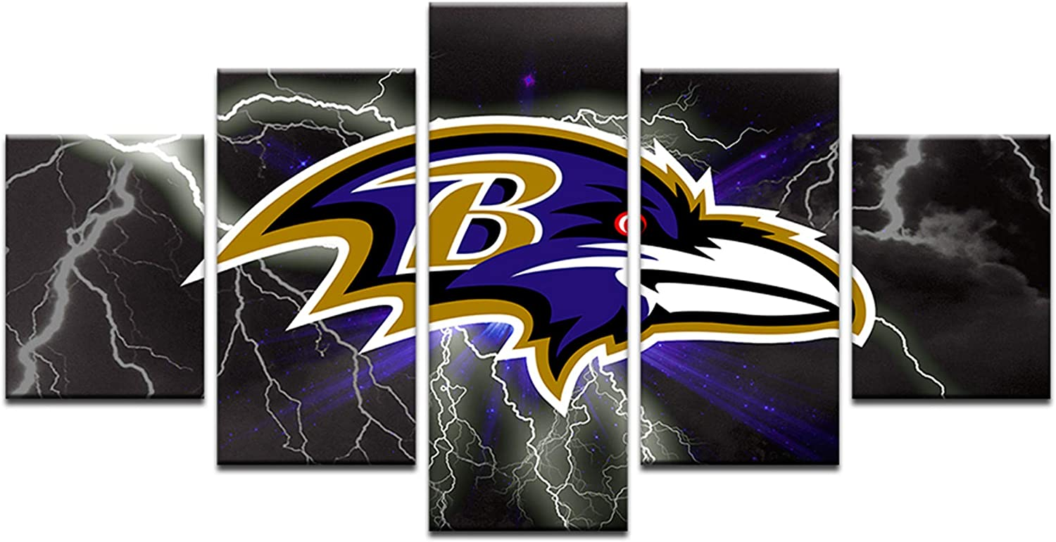HAOSHUNDA Baltimore Ravens Logo Wall Decor Art Paintings5 Panel Canvas Print Wall Art HD Prints Sports Fan Pictures Gallery Wrapped(Framed) (8x14x2,8x18inx2,8x22inx1, Gallery Wrapped(Framed) 1
