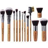 EmaxDesign Set di 12 pennelli da trucco professionali con manico in bambù, setole sintetiche pennello kabubi, per fondotinta, per sfumare, per blush, correttore, occhi, viso, liquidi, polveri, creme con sacchetto