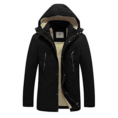 WenVen Men's Winter Washed Cotton Sherpa Lined Parka Jacket at Men's Clothing store