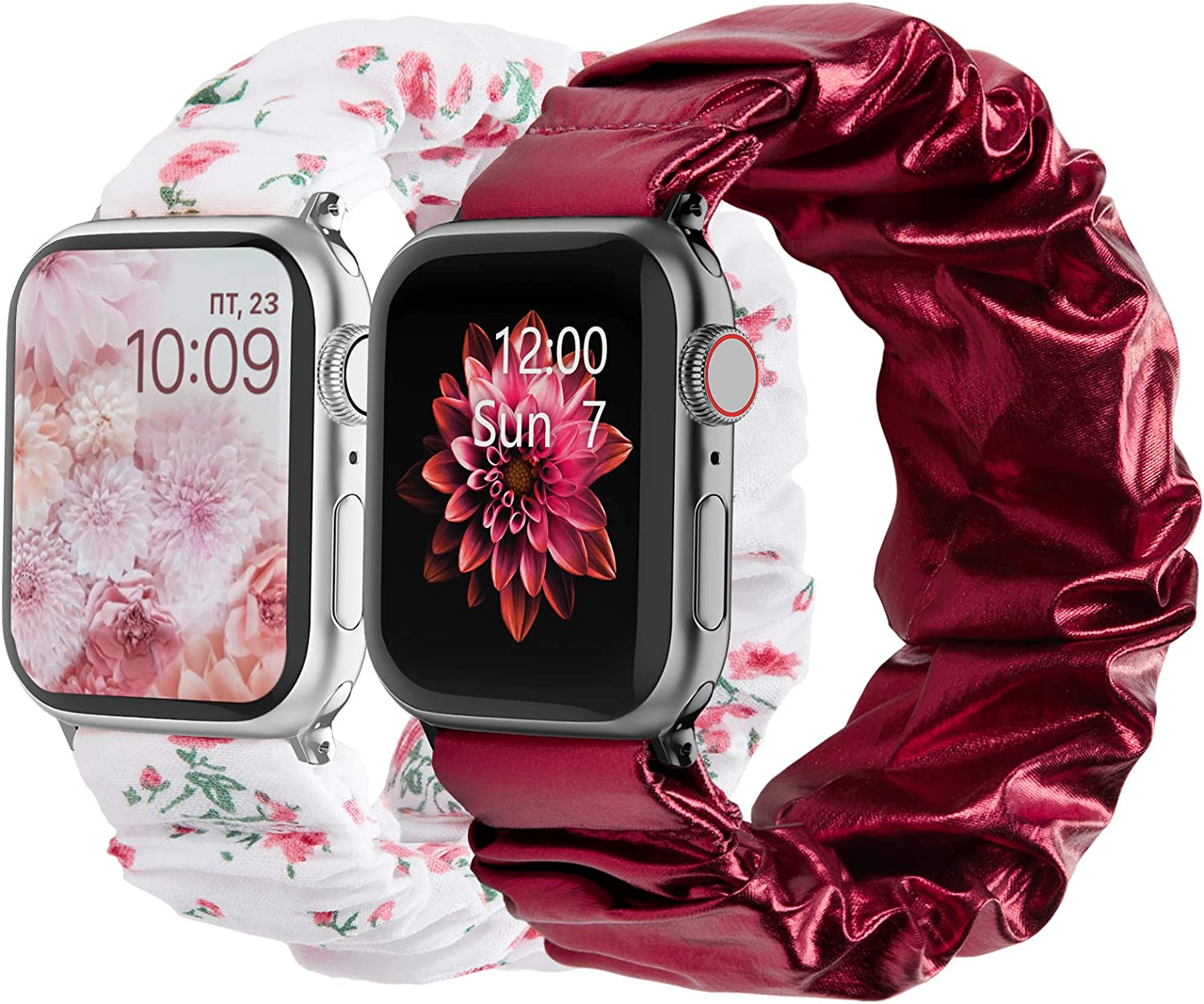 POY Compatible with Scrunchies Apple Watch Bands 38mm 40mm 42mm 44mm, Women Cloth Pattern Printed Fabric Wristbands Straps Elastic Scrunchy Band for iWatch Series 6 5 4 3 2 1 SE
