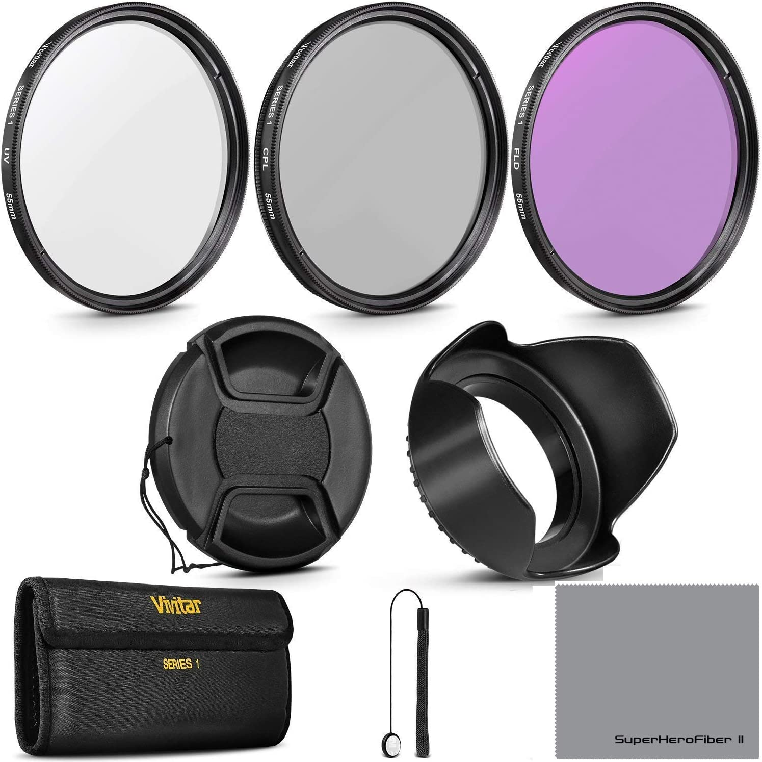 + Carry Pouch + Tulip Lens Hood + Snap-On Lens Cap w//Cap Keeper Leash + Microfiber Lens Cleaning Cloth UV, CPL, FLD 58MM Professional Lens Filter Accessory Kit HD Filter Kit