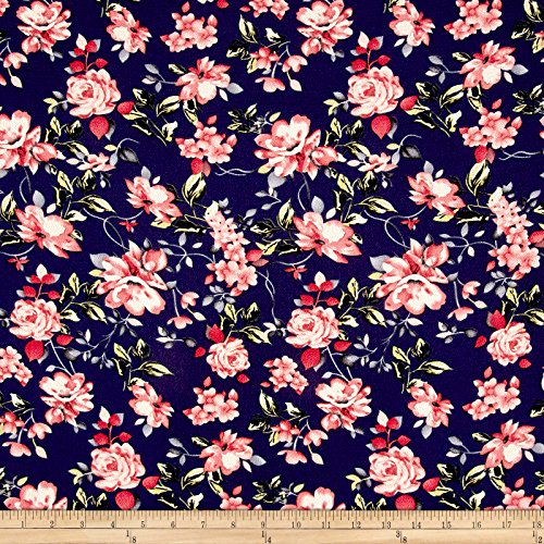 Floral Fabric Rose (Fabric Bubble Crepe English Floral Navy/Rose/Peach Yard)
