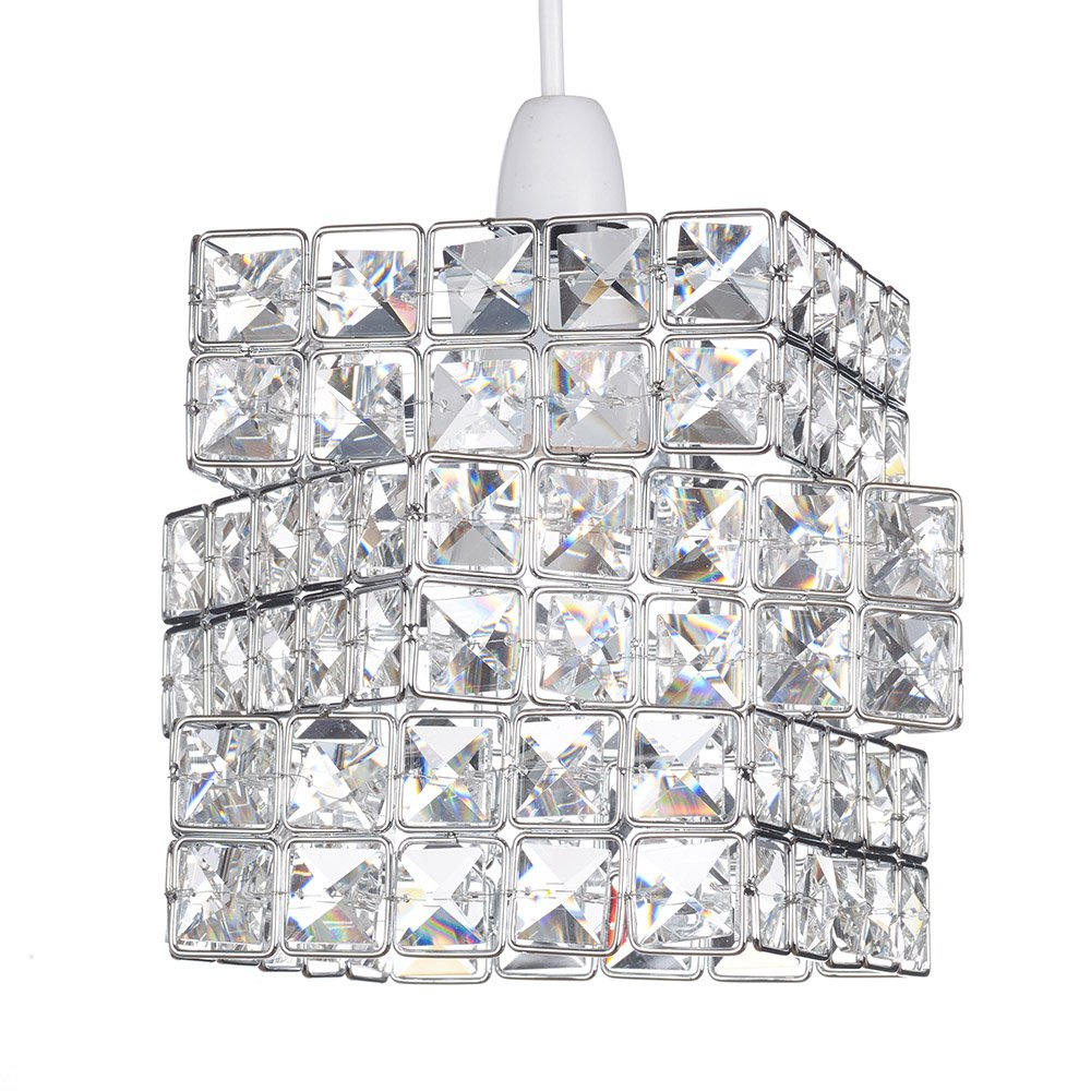 Rubik's Cube Effect Sparkly Beaded Chrome Easy Fit Ceiling Pendant Light Shade Lights and Linen