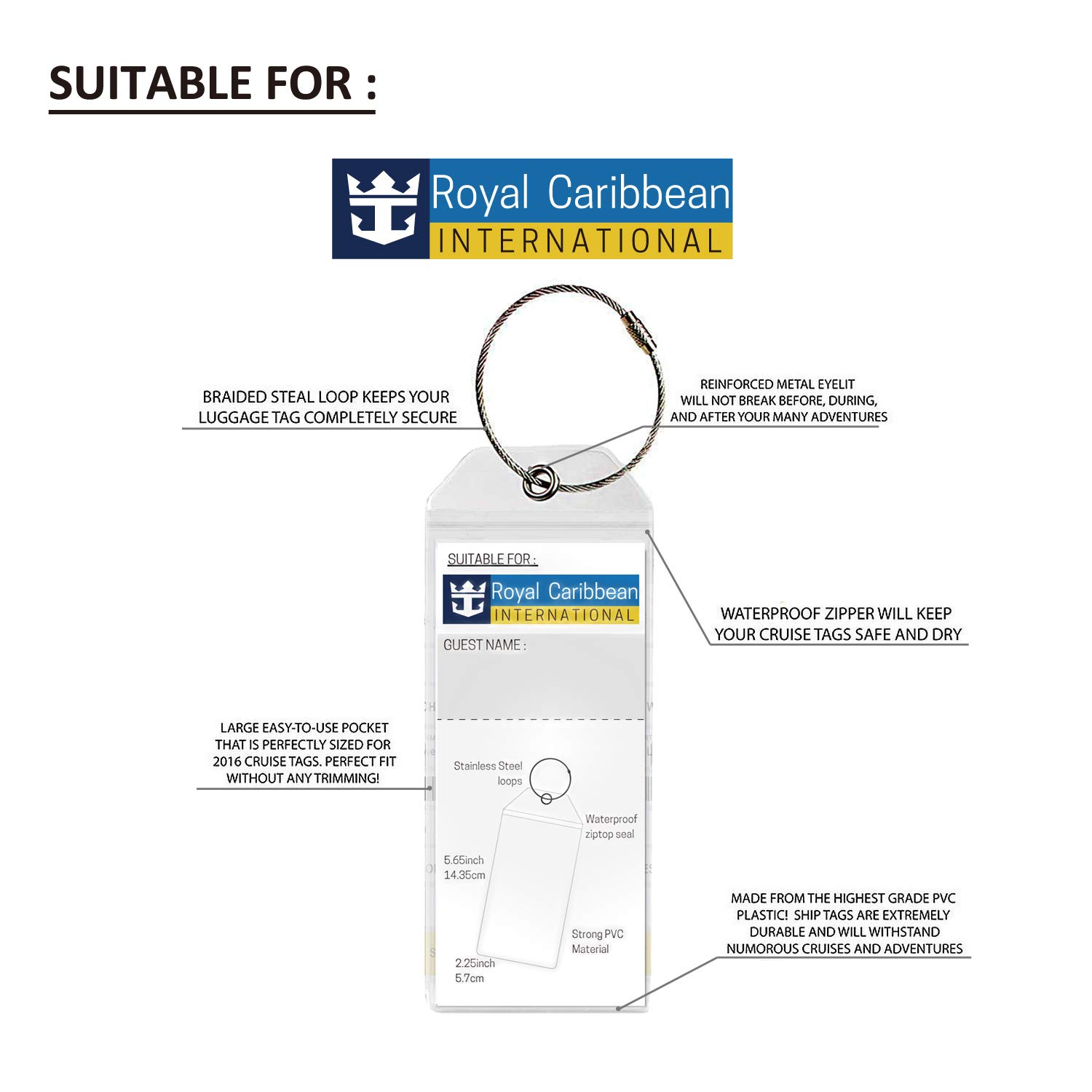 Cruise Tags PVC Luggage Tags with Zip Seal for Royal Caribbean and Celebrity Cruise Ship Etags