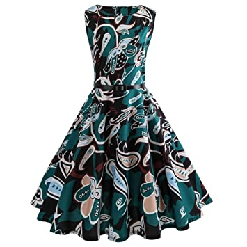 Women Evening Party Dress Clearance!Rakkiss Vintage Printing Bodycon Sleeveless Casual Prom Swing Belt