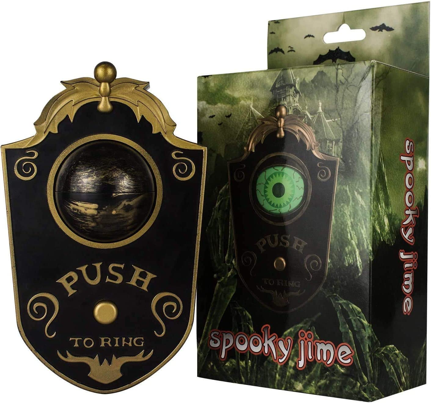 Halloween Decoration, Talking Lightup Doorbell Animated Eyeball for Indoor & Outdoor, Halloween Decor with Spooky Sounds, Trick or Treat Event for Kids, Haunted House Halloween Party Prop Decoration