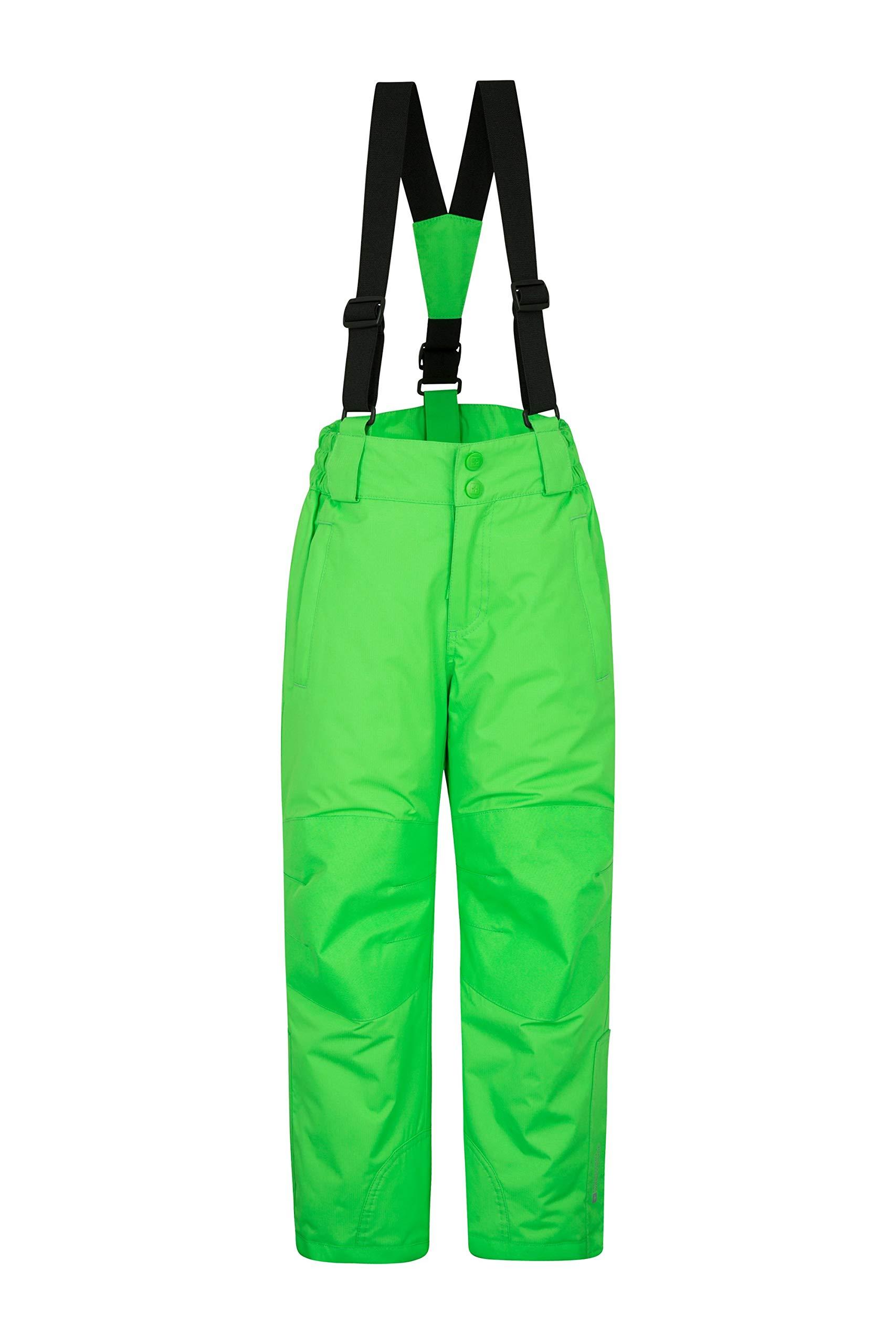 Mountain Warehouse Raptor Kids Snow Pants - Detachable Suspenders Green 9-10 Years by Mountain Warehouse