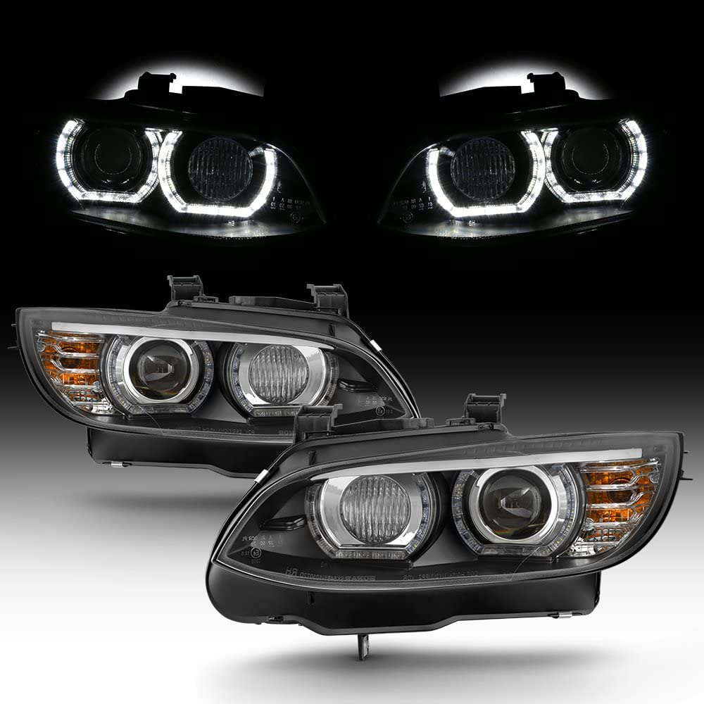 for 2007 2010 bmw 3 series e93 e92 335i 328i 3d halo led projector headlights pair hid xenon type lh rh pair