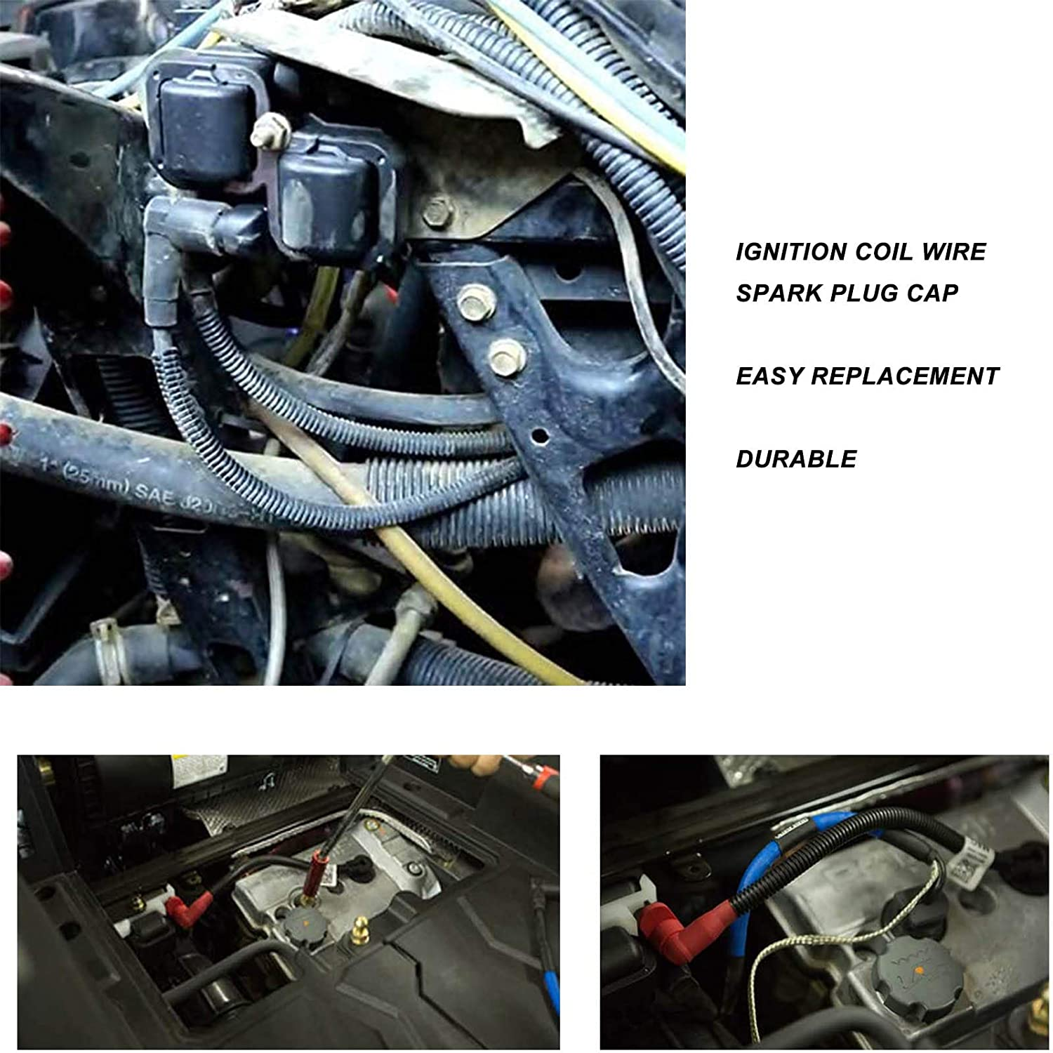 2 pieces New Spark Plug Ignition Coil Wires, For RZR S 800 Ranger Crew XP HD Sportsman 700 800 EFI