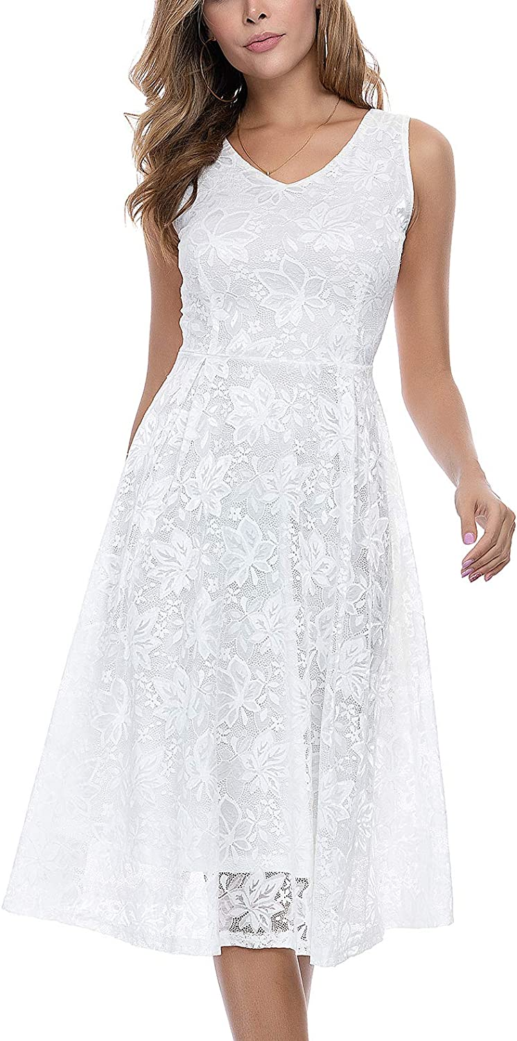 Amazon Com Noctflos Woman S V Neck Floral Lace Cocktail Dress For Party Wedding Guest Sleeveless Clothing These days, it's possible to wear white dresses to show off a confident style at almost any special. noctflos woman s v neck floral lace cocktail dress for party wedding guest sleeveless